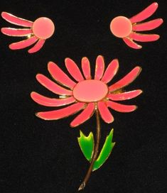 1960s Bright Pink Enamel Daisy Brooch and Earring by GoodBuyForNow