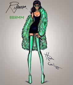 Rihanna performing BBHMM at the iHeart Awards by Hayden Williams. Rihanna by Hayden Williams Fashion Illustration Hayden Williams, Fashion Illustration Sketches, Fashion Sketches, Dress Sketches, Design Illustrations, Rihanna, Princesas Disney Zombie, Fashion Art, Fashion Models