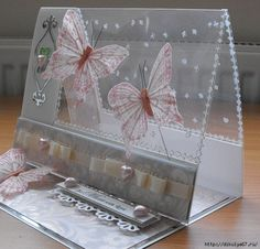easel card design with clear acetate top (inspiration only) Fancy Fold Cards, Folded Cards, 3d Templates, Acetate Cards, Shaped Cards, Easel Cards, Butterfly Cards, Card Tutorials, Pretty Cards