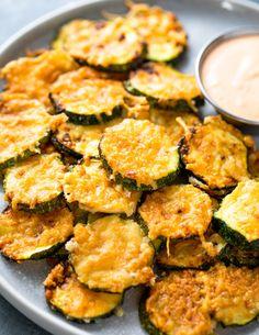 orig_air_fryer_zucchini_parmesan_crisps_20200920094537271137sg6kwy Fried Zuccini, Parmesan Zucchini Bites, Parmesan Crusted Zucchini, Parmesan Squash, Zucchini Cheese, Sauteed Zucchini, Zucchini Fries, Air Fry Recipes, Air Fryer Dinner Recipes