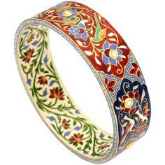 Maharaja Jewels Zafar Enamel & Uncut Diamond Bangle (€4.175) ❤ liked on Polyvore featuring jewelry, bracelets, multi, diamond bracelet bangle, bangle bracelet, diamond jewelry, enamel bangle bracelet and bracelets & bangles