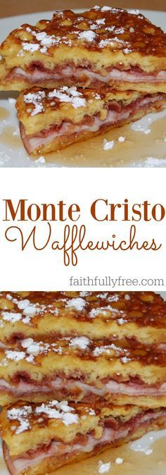 Monte Cristo Wafflewiches: Your New Favorite Food Seriously, this recipe is amazing! Monte Cristo Wafflewiches Recipe, one of our new favorite recipes, perfect breakfast, lunch or dinner idea! Breakfast Desayunos, Perfect Breakfast, Breakfast Dishes, Breakfast Recipes, Breakfast Sandwiches, Grilled Cheese Sandwiches, Avacado Breakfast, Breakfast Panini, Fodmap Breakfast