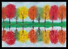 Podzimní krajina – odraz na vodní hladině Autumn Crafts, Autumn Art, Autumn Trees, Reflection Art, Fall Art Projects, Art Lessons Elementary, Art Lesson Plans, Art For Kids, Diy And Crafts