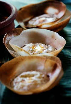 Egg Hoppers - Sri Lankan cuisine // these will be dearly missed when I come home Sri Lanka Essen, Indian Food Recipes, Asian Recipes, Sri Lankan Recipes, Breakfast Specials, Yummy Food, Tasty, Asian Cooking, Food Items