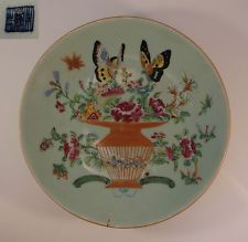 Antique Chinese Celadon Famille Rose Porcelain Plate Butterflies Flowers China