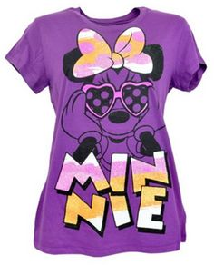 Purple Mickey and Minnie Mouse Glitter Graphics   ... Disney T-Shirt Tee Womens Magical Minnie Mouse Glitter Bow Purple