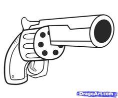draw easy gun guns step drawing drawings dragoart cool cartoon graffiti tattoo hand aaliyah weapons tips stuff pistols