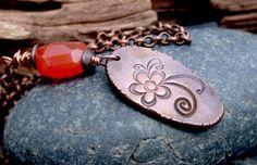 Copper Petals Necklace  Rustic Copper Necklace by LindaGeez