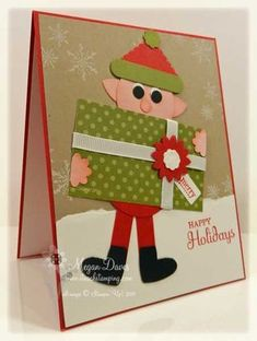"""Stampin' Up! punches needed to make this punch art elf Christmas card:    Small heart punch, Word Window Punch, Boho Blossoms Punch, 1 3/8"""" Circle Punch, Postage Punch, 1/4"""" Circle Punch"""