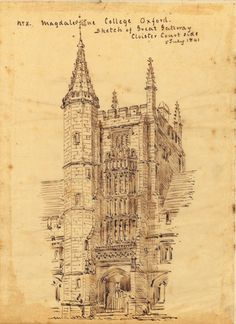 BRITISH ARCHITECTURE -- BANKS, Robert Richardson. An album of 82 pen-and-ink line drawings on tracing paper, many signed 'R.R. Banks' and 'R.B.B.' and dated as traced 1848 after drawings c.1842-43. (Some browning at edges from adhesive, occasional spotting.) Mounted on 45 leaves of a 4° album bound in 19th-century red half morocco (some wear). Banks remodeled, with Charles Barry Jr., the forecourt buildings of Burlington House to accommodate the Society of Antiquaries and other learned… Robert Richardson, Worcester Cathedral, Burlington House, British Architecture, Engraved Plates, Ancient Buildings, Vintage Drawing, Browning, Line Drawing