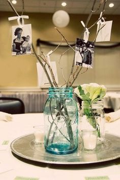 13 Rustic Mason Jar Centerpieces To Try - * Decoration * my Gusto - Celebration Picture Centerpieces, Mason Jar Centerpieces, 21st Birthday Centerpieces, Anniversary Party Centerpieces, Vintage Table Centerpieces, Centerpiece Flowers, Centerpiece Ideas, Decoration Branches, Decoration Table
