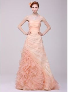 A-Line/Princess Strapless Sweep Train Organza Prom Dress With Ruffle Cascading Ruffles (018016218) - JJsHouse