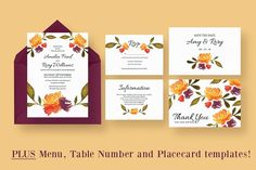 Watercolour Fall Wedding Suite by Knotted Design on @creativemarket