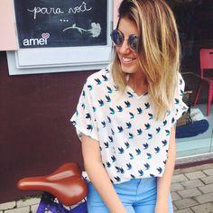 Passarinhos🐦💙 #blusa #pássaros #óculos #lojaamei #novidades #moda #cores #blusa