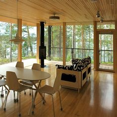 Villa K&Y by Meark Architects, www. Weekend House, Wood Architecture, Contemporary, Modern, Finland, Valance Curtains, Villa, Dining Table, Cottage