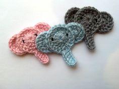 Conjunto de cabeza de elefante del ganchillo 3 apliques / Scrapbooking / flatback ideal para la decoración de Pascua bebé ducha dormitorio decoración jardín casa