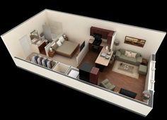 Plano de departamento pequeño de un dormitorio