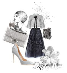 """""""Silver bliss"""" by inesi ❤ liked on Polyvore featuring Temperley London, Costarellos, Chanel, Gianvito Rossi, On Aura Tout Vu, Kendra Scott and Once Upon a Time"""