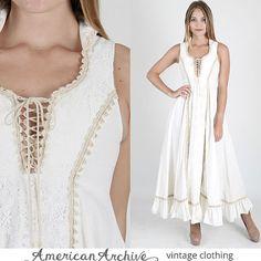 Gunne Sax Dress Prairie Dress Crochet Lace by americanarchive