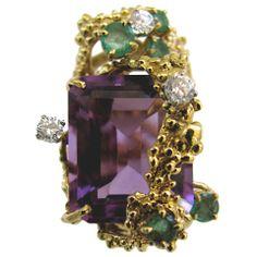 Barbara Anton Amethyst and Diamond Cocktail Ring Circa 1960 Gold Diamond Rings, Gold Rings, Schmuck Design, Artisan Jewelry, Anton, Fine Jewelry, Jewelry Rings, Jewelry Box, Jewelery