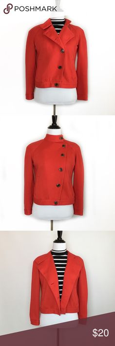 0010919842 Old Navy Red Pea Coat Military Jacket Cardigan XSP Light cotton blend  military style jacket from