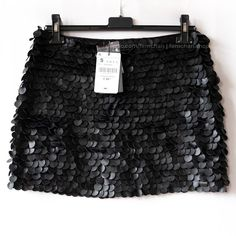 7fc82439ac Black mini skirt with large faux leather sequins and a From - Depop  #leathersequins #blackmini #miniskirt #partyskirt #partyskirtforsale  #brandoutlet ...