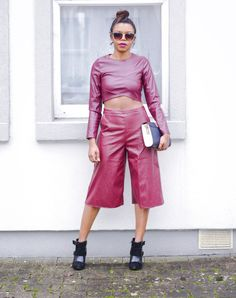 The Chic Medic #missguided #culottes #nyeoutfit #partylook #outfit #trendy #fashion #fauxleather #croptop Nye Outfits, Party Looks, The Chic, Missguided, Medical, Seasons, Crop Tops, Lifestyle, Pants