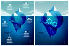 Icebergs Infographics Set, perfect for business concepts or ecological issues. You can easily change color and position, because it's all in vector shapes and layered. The expanded type for