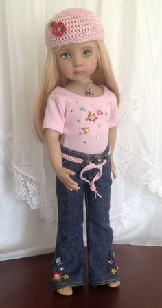 """Flower Power"" Jeans Outfit for Dianna Effner's 13"" Little Darling Dolls"