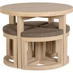 Mesa redonda con asientos en triángulo #mueblesrecicladoscarton