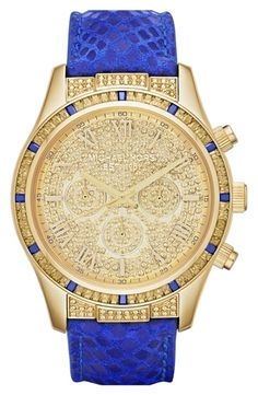 Michael Kors 'Layton' Pave Dial Chronograph Watch, 44mm Blue/ Gold from Nordstrom on shop.CatalogSpree.com, your personal digital mall.