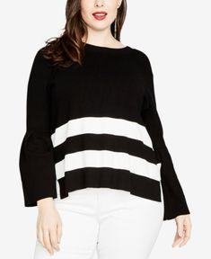 Rachel Rachel Roy Trendy Plus Size Tie-Back Sweater, Created for Macy's - Black/eggshell Plus Size Sweaters, Black Sweaters, Sweaters For Women, Fashion Line, High Fashion, Rachel Roy, Trendy Plus Size, Pullover Sweaters, Eggshell