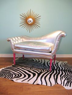 Vintage HOLLYWOOD REGENCY Silver Curvy FRENCH Button Tufted Settee / Chair / Sofa. $1,695.00, via Etsy.