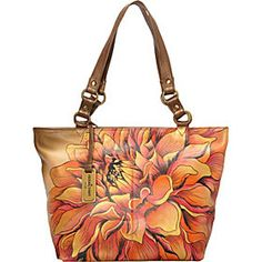 Anuschka Handbags & Accessories FREE SHIPPING - eBags.com Brown Leather Handbags, Leather Purses, Painted Bags, Hand Painted, Floral Bags, Beautiful Handbags, Vintage Handbags, Large Tote, Leather Shoulder Bag