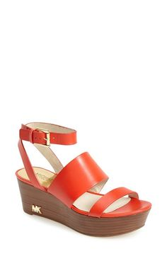 MICHAEL Michael Kors 'Posey' Platform Sandal (Women) available at #Nordstrom.  Looks great with our #CAbi Grenadine Printed Madeleine Top and Hourglass Cardigan.