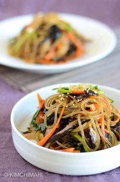 Korean Glass Noodles Japchae with shitake mushrooms
