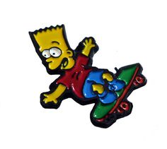 """BART SIMPSON Skateboard cute vintage enamel pin brooch lapel jewelery The SIMPSONS Homer Skater by VintageTrafficUSA  28.00 USD  A vintage Bart pin! Excellent condition. Measures: approx 1"""" 20 years old hard to find vintage high-quality cloisonne lapel/pin. Add inspiration to your handbag tie jacket backpack hat or wall. Have some individuality = some flair! -------------------------------------------- SECOND ITEM SHIPS FREE IN USA!!! LOW SHIPPING OUTSIDE USA!! VISIT MY STORE FOR MORE…"""