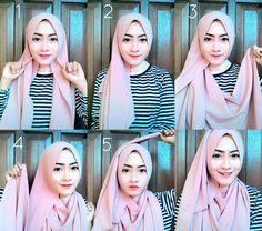 The latest Pashmina Diamond Italiano Hijab tutorial Source by nandahersa Tutorial Hijab Modern, Tutorial Hijab Pesta, Pashmina Hijab Tutorial, Hijab Style Tutorial, Muslim Brides, Muslim Women, Abaya Fashion, Muslim Fashion, Fashion Dresses