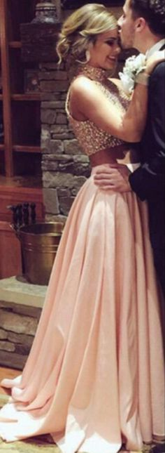 Fashion Two Pieces Blush Prom Dress,Sexy Slit 2016 Graduation Dresses,Beaded Two Pieces Formal Party Dress,Prom Gowns