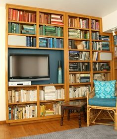 Before and After: Incorporating a Flat Screen TV into a Bookcase   Apartment Therapy