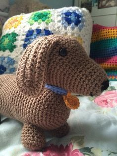 Free crochet pattern Dachshund amigurumi pattern by Lynn Logan More