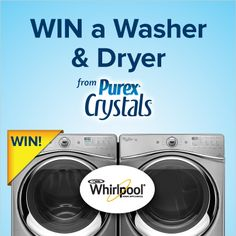 *THIS SWEEPSTAKES HAS ENDED* Who wants to win a NEW #Whirlpool washer & dryer from Purex Crystals? Repin and enter at www.facebook.com/purex/app_158658947620014