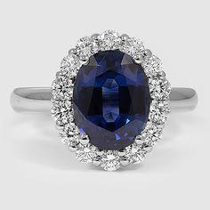 Platinum Sapphire Lotus Flower Diamond Ring // Set with a 9x7mm Premium Oval Blue Sapphire (Modified Due to Center Gem Shape) #BrilliantEarth