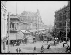 One of the earliest known pictures of DT LA at Spring and 1st in 1887.