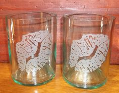 Set of 2 Lipstick Etched Stemless Wine Bottle Glasses by Groovy Green Glass
