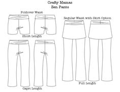 Crafty Mamas the ZEN pants, with optional skirt!    Crafty Mamas  ZEN pants is a pattern you will LOVE.    Ladies XS-XXXL PDF version.    Bringing ...