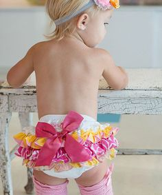 Look at this RuffleButts Pink & Yellow Wavy Fun Ruffle Diaper Cover - Infant on #zulily today!