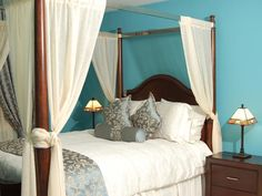 Traditional bedroom in robin's egg blue