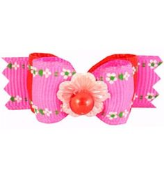 """Doggie Hair Bows Economy Pink Flowers 5/8"""""""