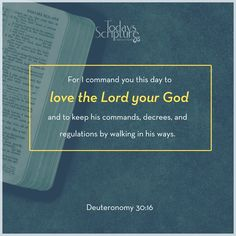 Scripture For Today, Today's Scripture, Bible, Deuteronomy 30, Psalms, Love The Lord, Verse Of The Day, Social Networks, God